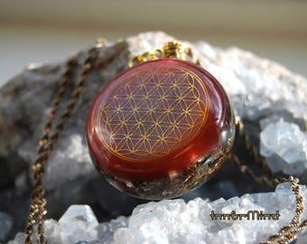 Flower of Life Orgone Pendant Orgonite® Positive Energy Generator with red Garnet