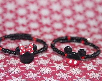 Disney Beaded Bracelet, Mickey Mouse, Minnie Mouse, Beaded Bracelet, Holiday Bracelet, Christmas Gift