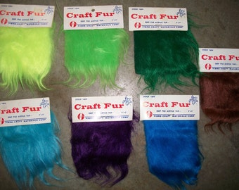 Three Vintage Fibre-Craft FCM Brand Faux Fur Fabric 4 inch x 4 inch Craft Squares