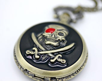 Black Steampunk Brass Skull and Crossbone Pirate Skeleton Pocket Watch with 28 Inch Brass Chain