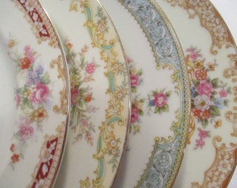 Vintage Mismatched China Salad Plates w/ Imperfections - Set of 4