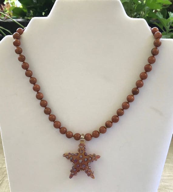Goldstone with a Art Glass Starfish Pendant Necklace
