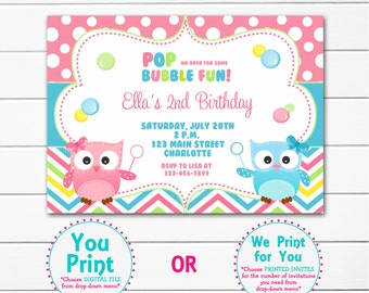 Owl and Bubbles Birthday Party Invitation Blowing Bubbles Party Invitation Bubbles Birthday