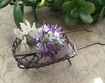 Mini Metal Wire Wheelbarrow, Garden Cart, 5 Inch Wheelbarrow, Fairy Garden Accessory, Miniature Gardening, Home & Garden Decor