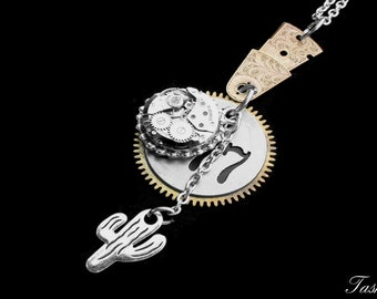Long Silver Steampunk Cactus Charm Necklace, Boho Vintage Jewelry, Silver Watch Movement