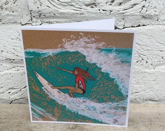 Surfer Surfgirl in wave glossy square blank greetings card surf art