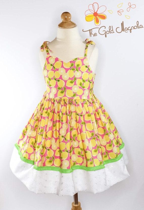 Girls Lemon Dress - Pink Lemon Dress - Pink and Yellow Sundress - Pink Lemonade - Girls Yellow and Pink Summer Dress - White Eyelet Dress