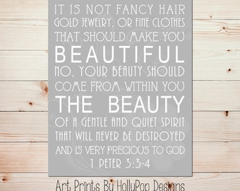 It is not fancy Hair 1 Peter 3 3:4 Art Print Girls Room Wall Decor Nursery Decor Home Decor Art Print Beauty comes from within quote #0676