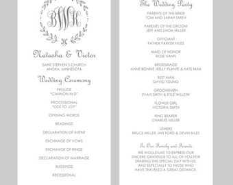 Monogram Program Etsy - Free sample wedding programs templates
