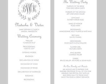 Monogram Program Etsy - Free sample wedding programs templates
