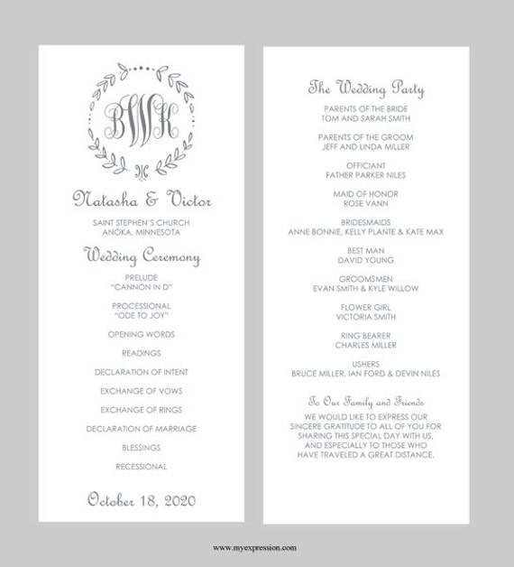 wedding program template tea length gray leaf monogram. Black Bedroom Furniture Sets. Home Design Ideas