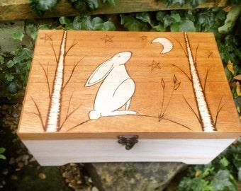 Essential Oil Storage Box - Moon Gazing Hare - Spiritual Gift - Retirement Gift Box - Hippie Gift - Tarot Card Holder - Rustic Tea Box