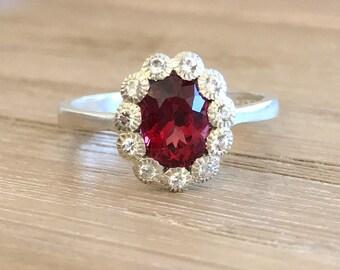 Garnet Engagement Ring- Garnet Promise Ring- Art Deco Anniversary Ring- Halo Oval Red Ring- January Ring- Red Gemstone Engagement Ring