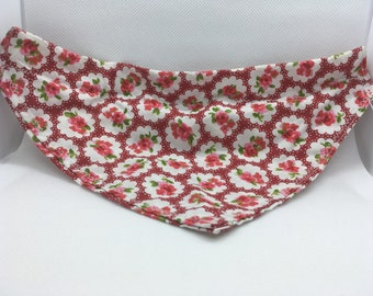 Red Floral Medium Dog Bandana