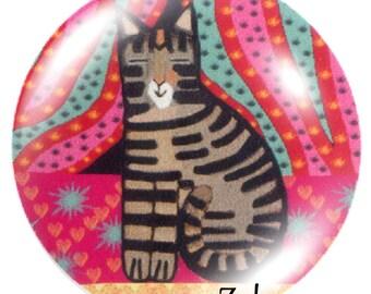 2 cabochons 25mm glass cat