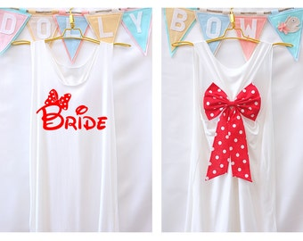 Bride i'm the bride Bridal party BRIDE Tank Premium with Bow : Workout Shirt - Keep Calm Shirt - Tank Top - Bow Shirt - Razor Back Tank