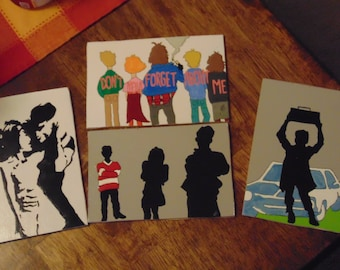 80's Movies Coasters Painted Cartoon Say Anything Dirty Dancing Ferris Bueller The Breakfast Club