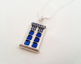 Police Box Necklace, Doctor Who Necklace, TARDIS Charm Necklace