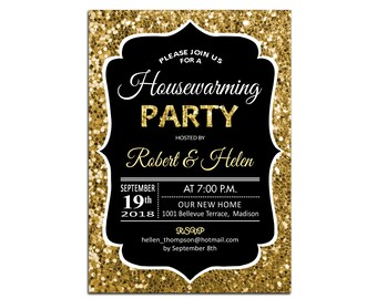 Housewarming Party Invitation / Glitter Gold Black / Digital Invitation / Customized