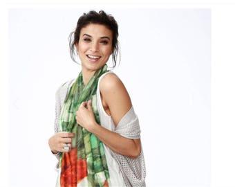 Boho wrap , Fashion Accessory Scarf, Colorful Wrap, Long Scarf, Floral Boho Scarf, Women's Wrap Scarf  , Artscarf Nature  inspired