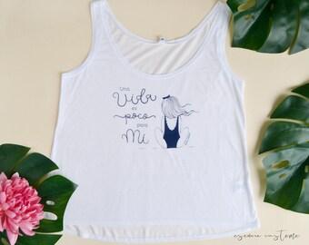 T-shirt fille «la vie est un peu pour mon» coton t-shirt sérigraphié, blanc, top de féminin, mode femme, chemise sangles