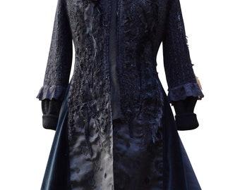 Custom sweater COAT for Liza. Boho Fantasy clothing, wearable art coat, Victorian goddess fairy festival coat, bespoke eco couture