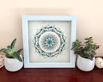 Hand drawn Blue Black White Mandala with Frame