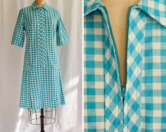 1960s Dress | Miss Endrea | Vintage 60's MOD Gingham Scooter Dress Teal and White Plaid Drop Waist Tabs Box Pleats Smokey Pearl Buttons M/L