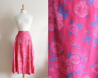 Vintage Blue & Pink Floral Midi Skirt