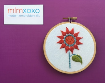 """Embroidery KIT by mlmxoxo.  Sunflower.  modern embroidery.  summer.  autumn. nature lover's gift.  botanical.  4"""" hoop art  hand embroidery."""