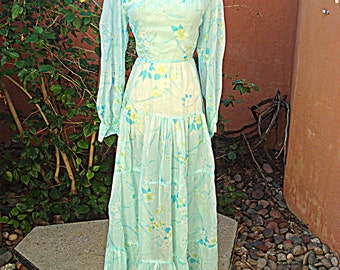 Light Blue Floral Sheer Dress Vintage 1960s Maxi Dress Puffed Sleeves Size S