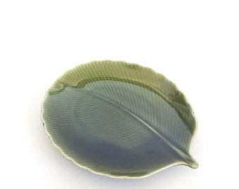 Vintage botanical leaf trinket dish