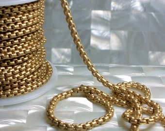 1 Foot Chain 4mm Matte Gold Plated Box Square Link Brass Chain Closed Link Goth Sturdy Small Jewelry Jewellery Craft Supplies