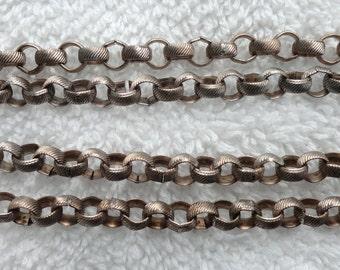 10 Feet of Vintage Steel Belcher/Rolo Chain, 5mm, Textured Design