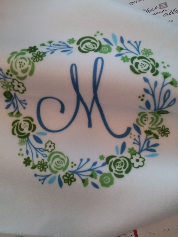 Quilt Square Fabric - 8x8 Monogram Shabby Chic Wreath - Lagoon | Personalized Fabric | Initials A-Z | linen,cotton,minky,organic cotton