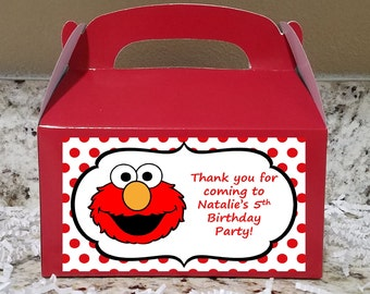 SALE! 12+ Labels Or Boxes & Labels 12 Elmo Treat Boxes, Elmo Gable Boxes, Elmo Candy Boxes, Elmo Party Boxes