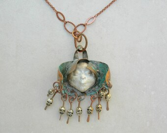 The Protector of Lost Souls Angel, Copper Pendant, Skull Dangles, Concrete Face, Bone Beads, 2 Prs. Earrings, Necklace Set by SandraDesigns