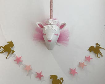 Gold glitter UNICORN garland banner !