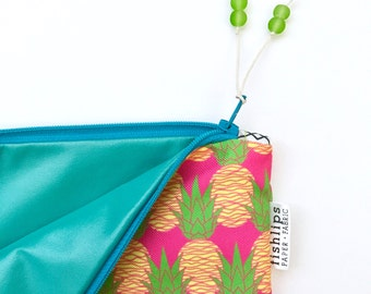 Pink Aloha Pineapples Bikini Bag, Water Resistant Wet Bag, Beach Love Zipper Pouch, Beach Bag, Handmade Gift, Diaper Mess Bag, Gift for Mom