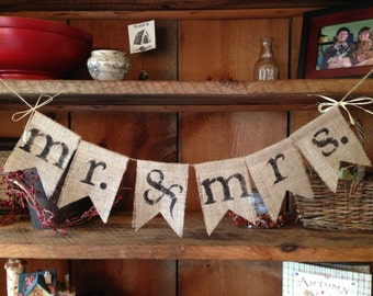 Mr. and Mrs. Burlap Banner, Mr. and Mrs. Banner, Wedding Decor, Photo Prop, Wedding Bunting
