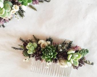 Succulent Hair Comb // Purple & Green
