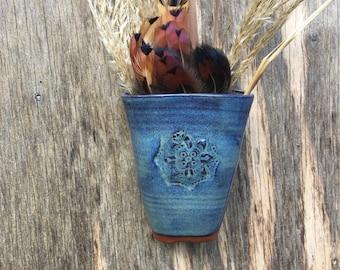 Small Wall Pocket/Vase - Handstamped Mandala - Distressed Denim Glaze - Wheel Thrown Pottery