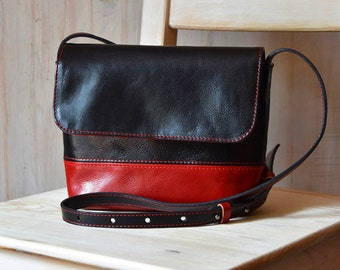 Small Crossbody Bag - Black And Red -  Small Shoulder Bag, Leather Purse Crossbody - Leather Bag Crossbody - Leather Crossbody Bag