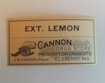 Antique Pharmacy Label, Lemon Extract Apothecary Label, Cannon Drug Store Ext. Lemon Pharmacy Label, Vintage Pharmacy Label for Bottles