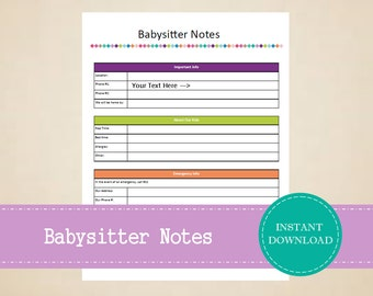 Babysitter Notes - Babysitter Checklist - Notes for the Babysitter - Home Binder - Printable and Editable - INSTANT PDF DOWNLOAD