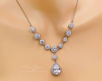 Wedding Necklace Platinum Zirconia Bride Necklace Necklace Wedding Jewelry Bridal Necklace Bridal Jewelry Statement Necklace CZ Necklace
