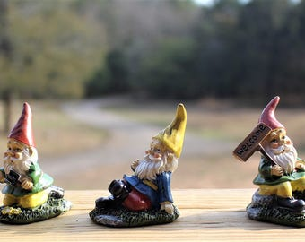 Garden gnome-Resin gnome-fairy garden decor-Terrarium supplies