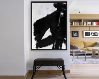 Original Artwork Extra Large Abstract Painting, oil Painting Canvas Art Black And White Minimalst Painting- MODERNISMARTSUDIO