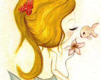 Mermaid Print Fish Kiss Nautical Nursery Art Cute Girl Flower Wall Art 11 x 14---Fin Love