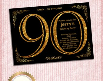 90th Birthday Invitation. Adult Gold Glitter Birthday Invitation. Women or Men Birthday. Adult Surprise Birthday. Elegant. - Printable DIY